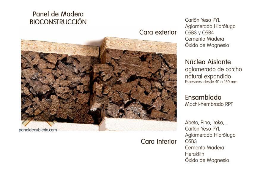 Diseñe su panel de cubierta con núcleo aislante de corcho natural para bioconstrucción.