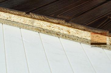 Panel de madera Tricapa entreplanta. Viroc + OSB 3 + friso abeto.
