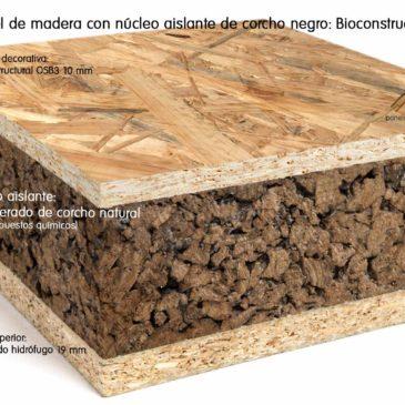 Panel de madera con aislante de corcho natural (llamado corcho negro) recomendado para Bioconstrucción. Acabado decorativo tablero estructural OSB3.