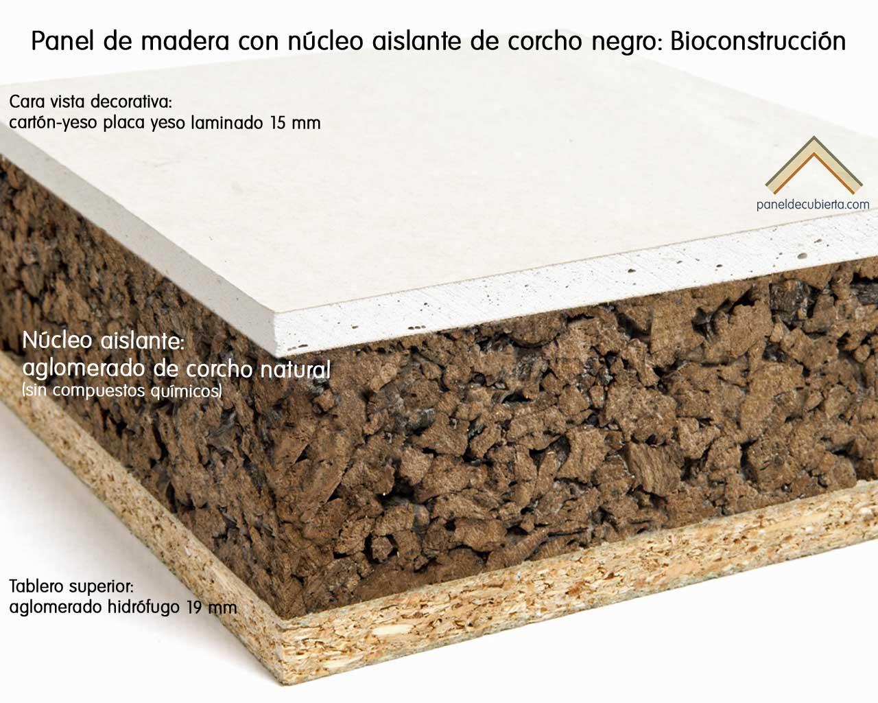 Panel de madera con aislante de corcho natural también llamado corcho negro recomendado para Bioconstrucción. Cara vista tablero placa yeso laminado cartón yeso knauf.