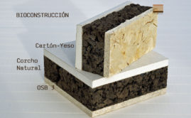 Panel de madera para bioconstrucción. Acabado placa de yeso laminada (cartón-yeso).