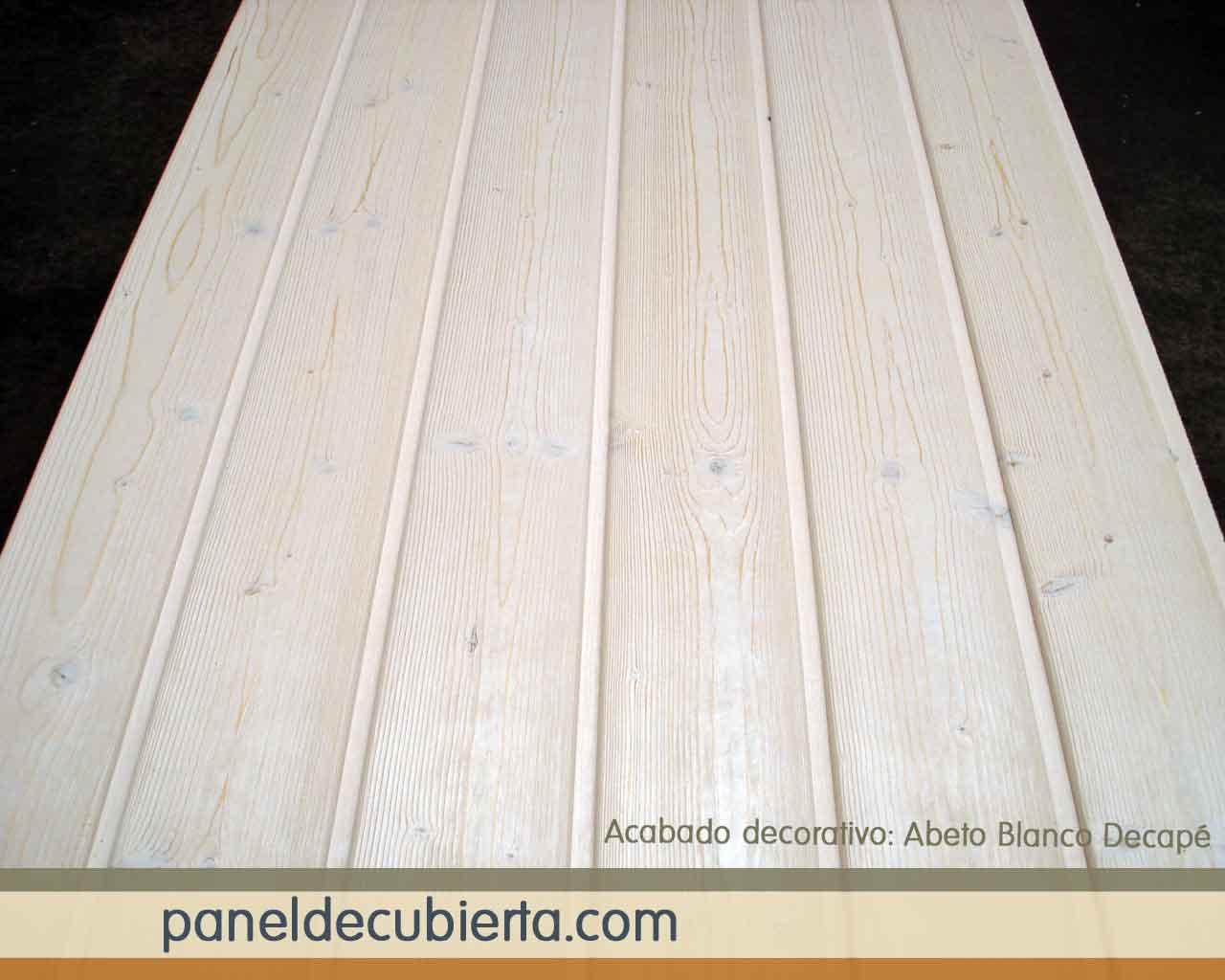 Abeto blanco decapé, acabado de panel de madera.