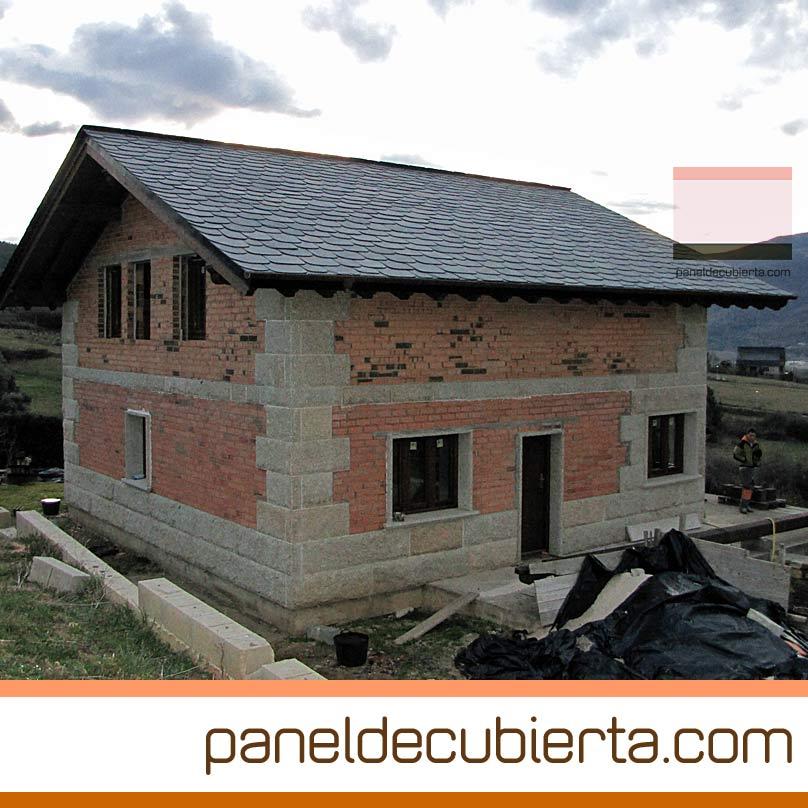 Cubierta de estructura de madera panel de madera y pizarra - Cubierta de pizarra ...