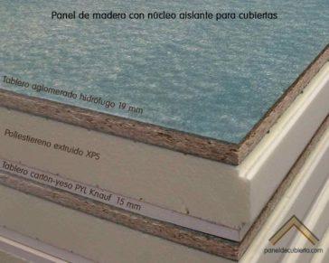 Estructura de panel de madera con núcleo aislante XPS, cara decorativa cartón yeso PYL knauf y tablero superior de aglomerado hidrófugo 19 mm.
