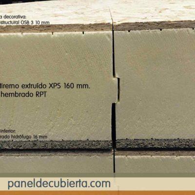 Panel OSB 3. Núcleo aislante XPS 160 mm machihembrado.