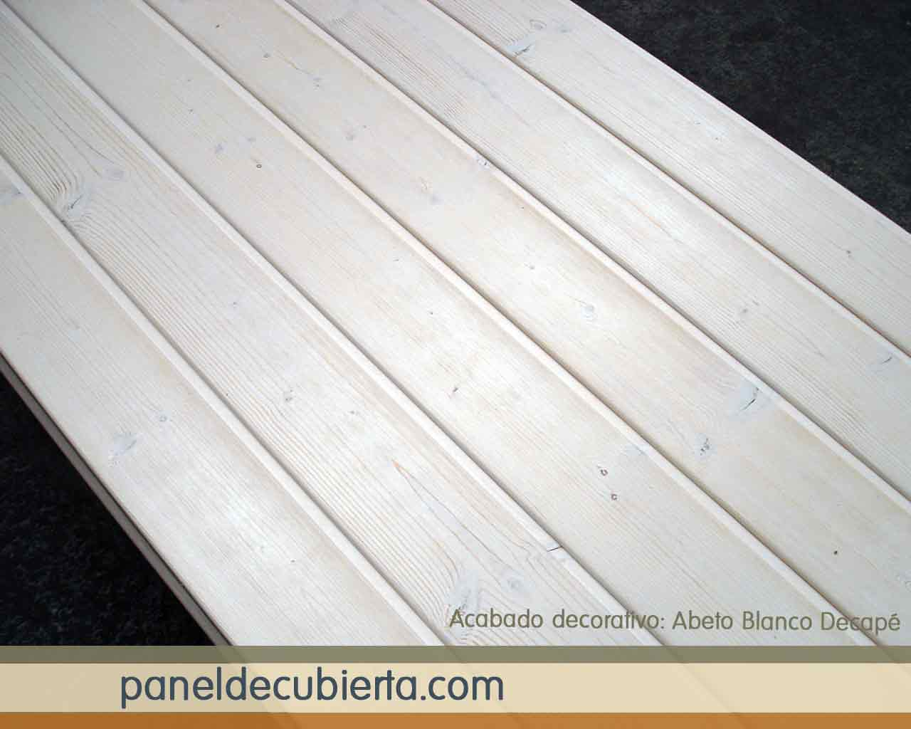 Panel de madera acabado decorativo abeto blanco decapé.