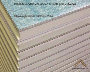 Panel de madera con núcleo aislante y tablero superior de aglomerado hidrófugo 19 mm. Detalle de machihembrado entre paneles.