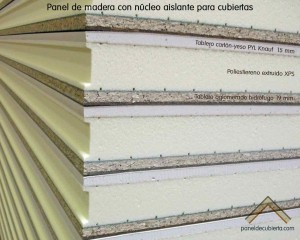 Panel de madera para tejado con núcleo aislante, acabado decorataivo cartón yeso PYL Knauf y tablero superior de aglomerado hidrófugo 19 mm.