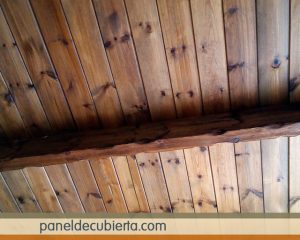 Preciosos techos de madera interiores en panel abeto. Precio panel barato Madrid.